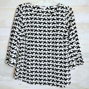 PIXLEY Small Hummingbird Print Black White Top